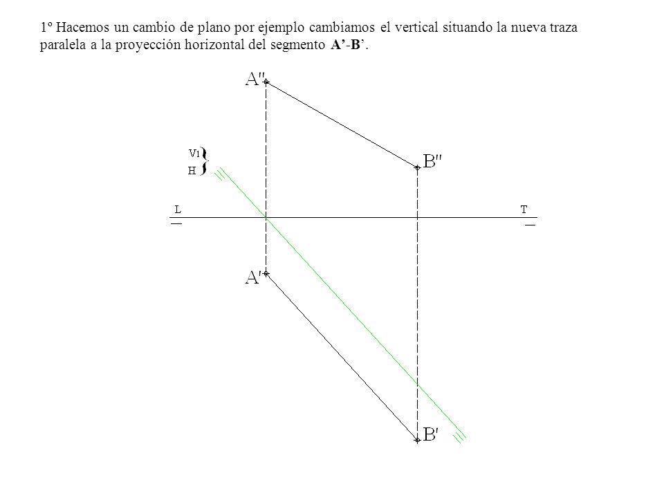 1º Hacemos un cambio de plano por ejemplo cambiamos el vertical situando la nueva traza paralela a la proyección horizontal del segmento A'-B'.