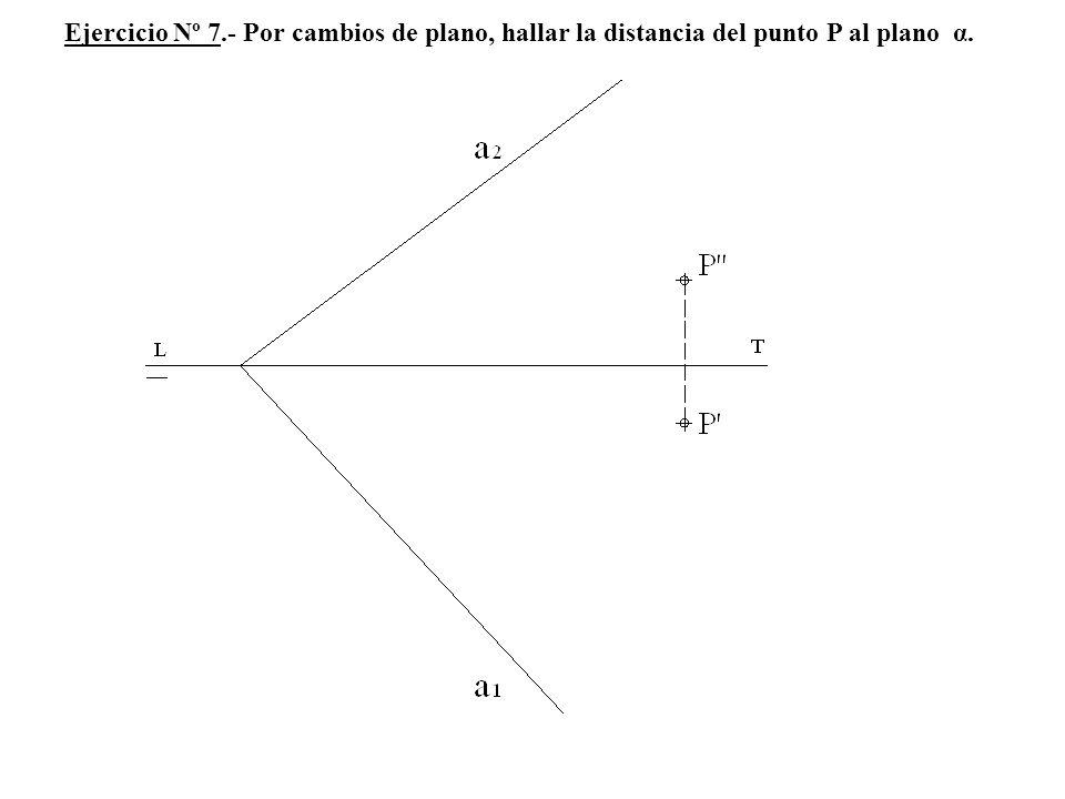 Ejercicio Nº 7.- Por cambios de plano, hallar la distancia del punto P al plano α.