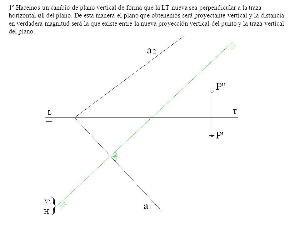 1º Hacemos un cambio de plano vertical de forma que la LT nueva sea perpendicular a la traza horizontal α1 del plano.
