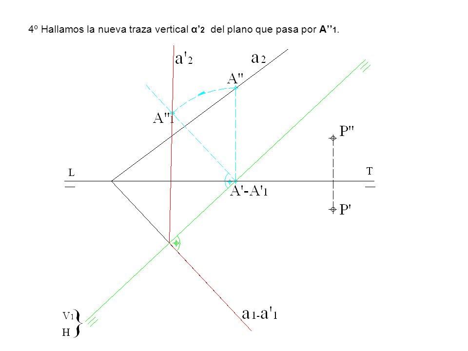 4º Hallamos la nueva traza vertical α'2 del plano que pasa por A''1.