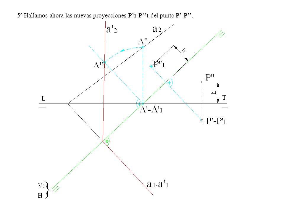 5º Hallamos ahora las nuevas proyecciones P'1-P''1 del punto P'-P''.