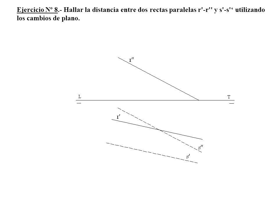 Ejercicio Nº 8.- Hallar la distancia entre dos rectas paralelas r -r y s -s ' utilizando los cambios de plano.