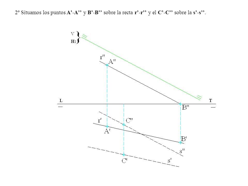 2º Situamos los puntos A'-A'' y B'-B'' sobre la recta r'-r'' y el C'-C'' sobre la s'-s''.