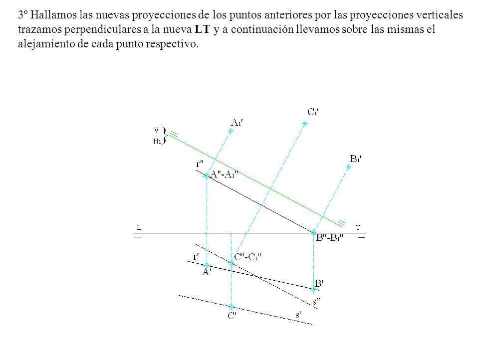 3º Hallamos las nuevas proyecciones de los puntos anteriores por las proyecciones verticales trazamos perpendiculares a la nueva LT y a continuación llevamos sobre las mismas el alejamiento de cada punto respectivo.