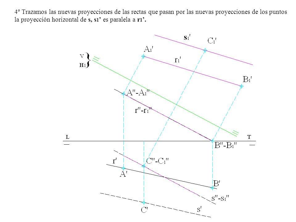4º Trazamos las nuevas proyecciones de las rectas que pasan por las nuevas proyecciones de los puntos la proyección horizontal de s, s1' es paralela a r1'.