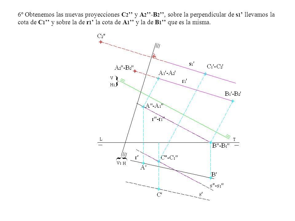 6º Obtenemos las nuevas proyecciones C2'' y A2''-B2'', sobre la perpendicular de s1' llevamos la cota de C1'' y sobre la de r1' la cota de A1'' y la de B1'' que es la misma.