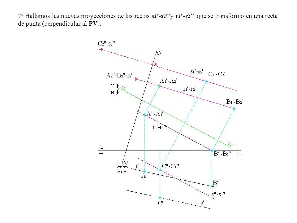 7º Hallamos las nuevas proyecciones de las rectas s2'-s2''y r2'-r2'' que se transformo en una recta de punta (perpendicular al PV).