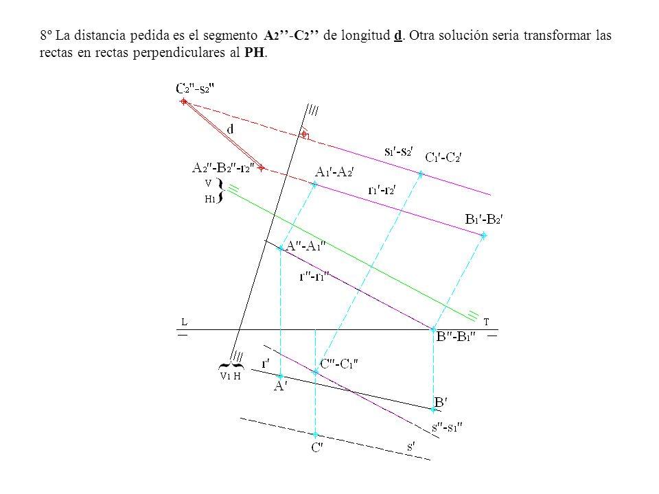8º La distancia pedida es el segmento A2''-C2'' de longitud d