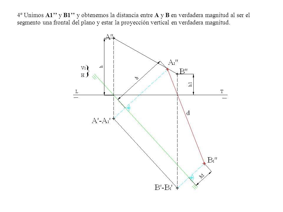 4º Unimos A1'' y B1'' y obtenemos la distancia entre A y B en verdadera magnitud al ser el segmento una frontal del plano y estar la proyección vertical en verdadera magnitud.