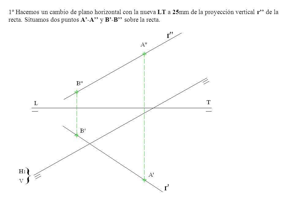 1º Hacemos un cambio de plano horizontal con la nueva LT a 25mm de la proyección vertical r'' de la recta.