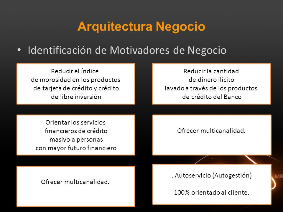 Arquitectura Negocio Identificación de Motivadores de Negocio