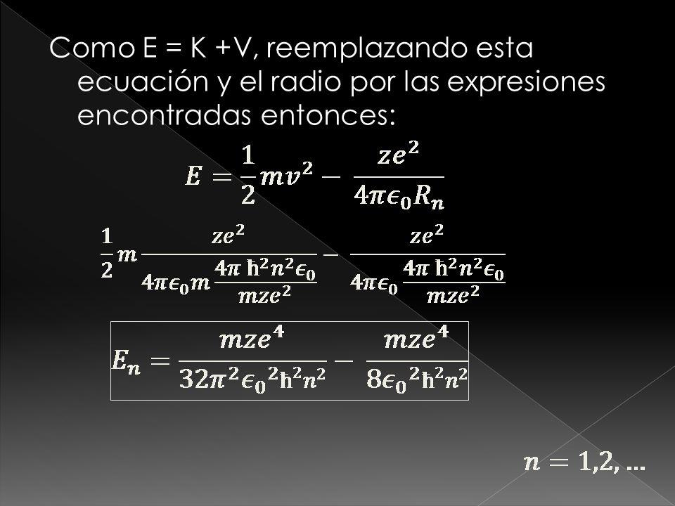 Como E = K +V, reemplazando esta ecuación y el radio por las expresiones encontradas entonces:
