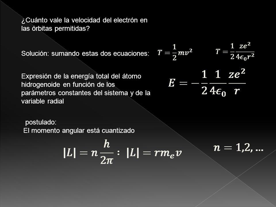 ¿Cuánto vale la velocidad del electrón en las órbitas permitidas