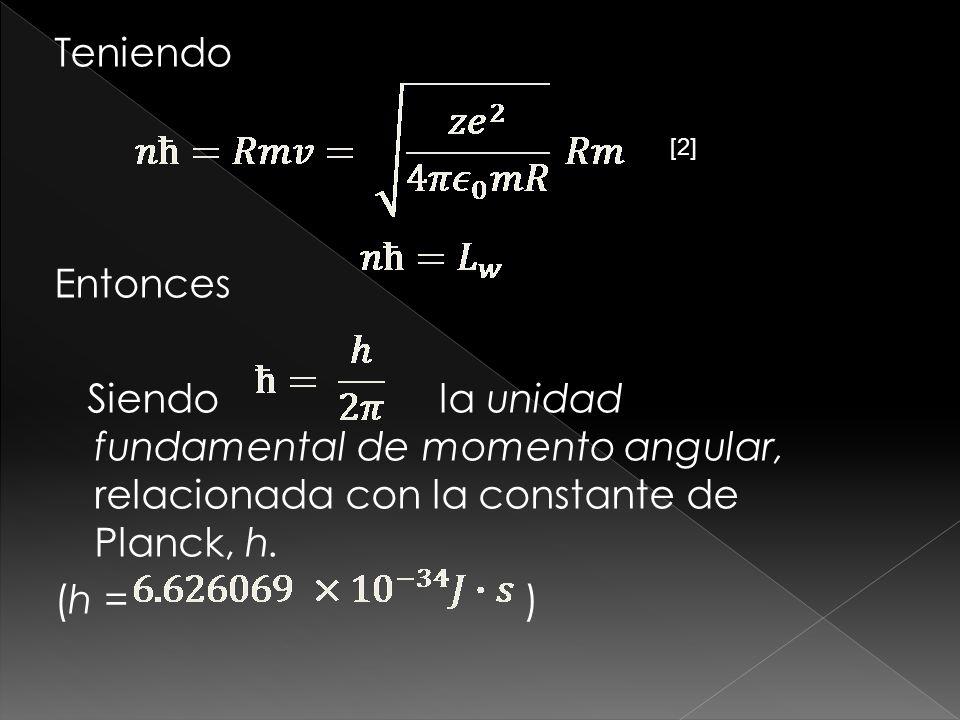 Teniendo Entonces Siendo la unidad fundamental de momento angular, relacionada con la constante de Planck, h. (h = )