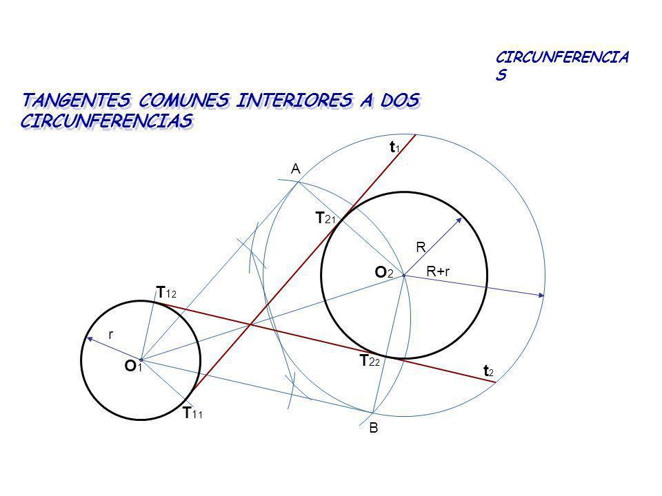 TANGENTES COMUNES INTERIORES A DOS CIRCUNFERENCIAS