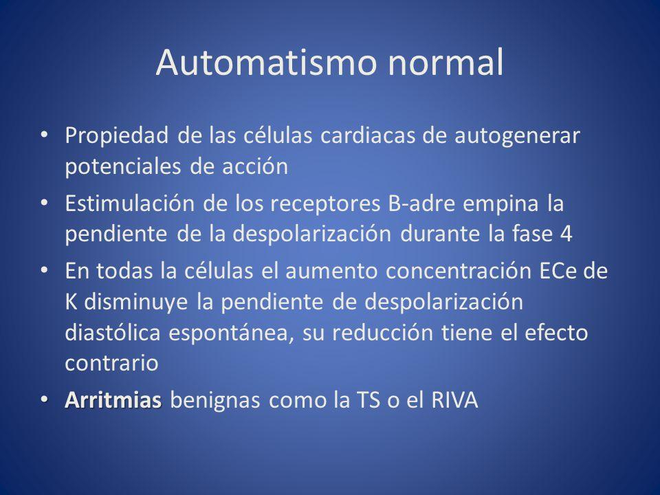 Automatismo normal Propiedad de las células cardiacas de autogenerar potenciales de acción.