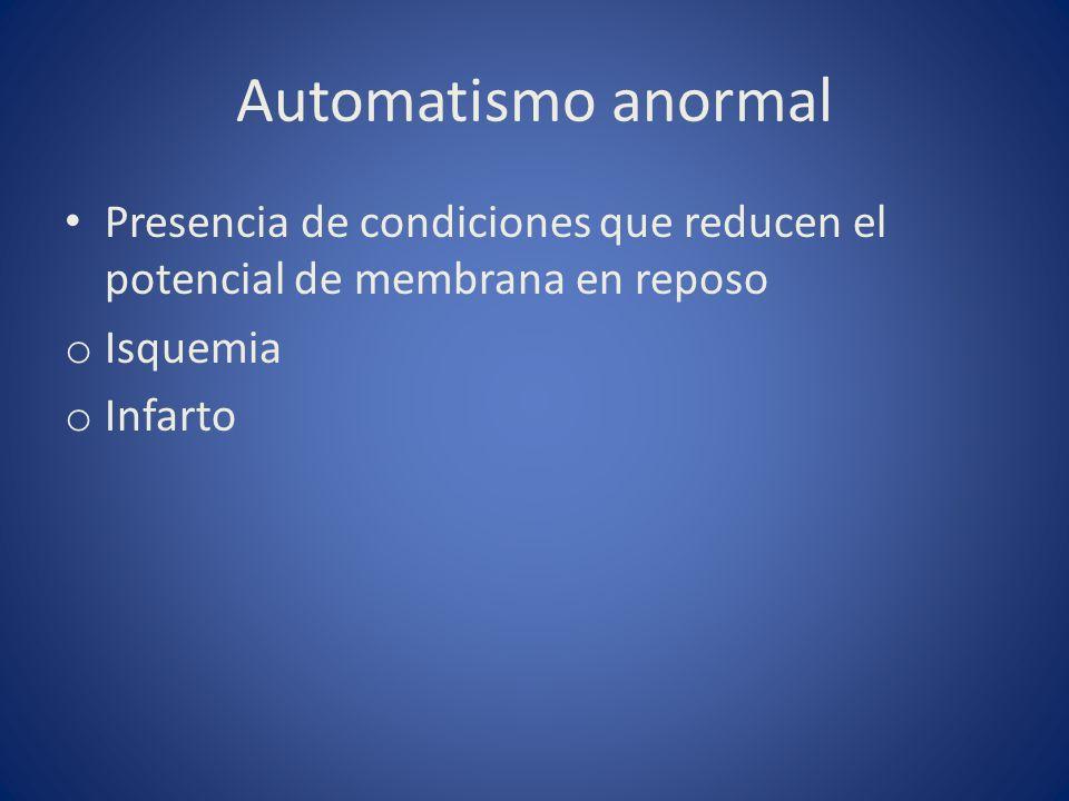 Automatismo anormal Presencia de condiciones que reducen el potencial de membrana en reposo. Isquemia.