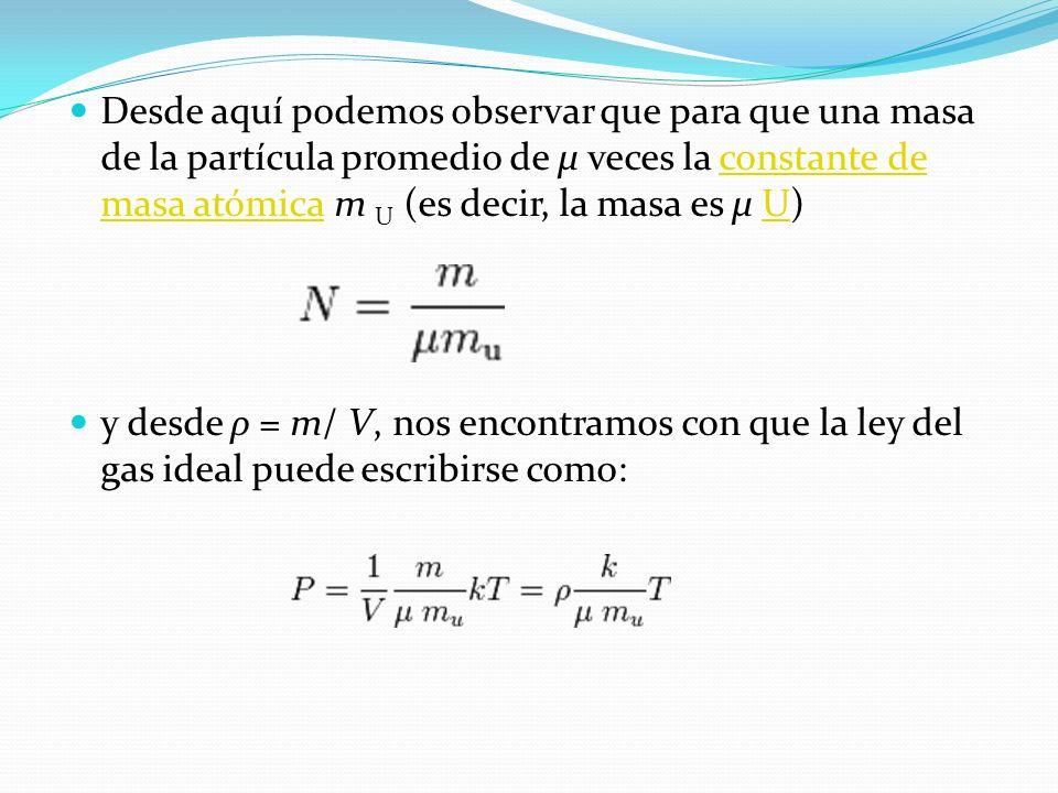 Desde aquí podemos observar que para que una masa de la partícula promedio de μ veces la constante de masa atómica m U (es decir, la masa es μ U)