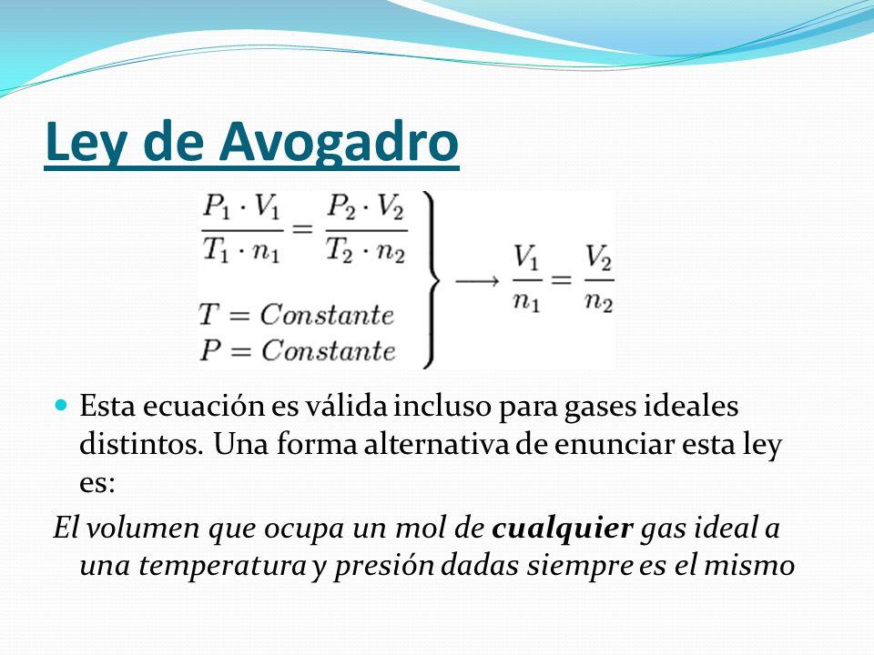 Ley de AvogadroEsta ecuación es válida incluso para gases ideales distintos. Una forma alternativa de enunciar esta ley es: