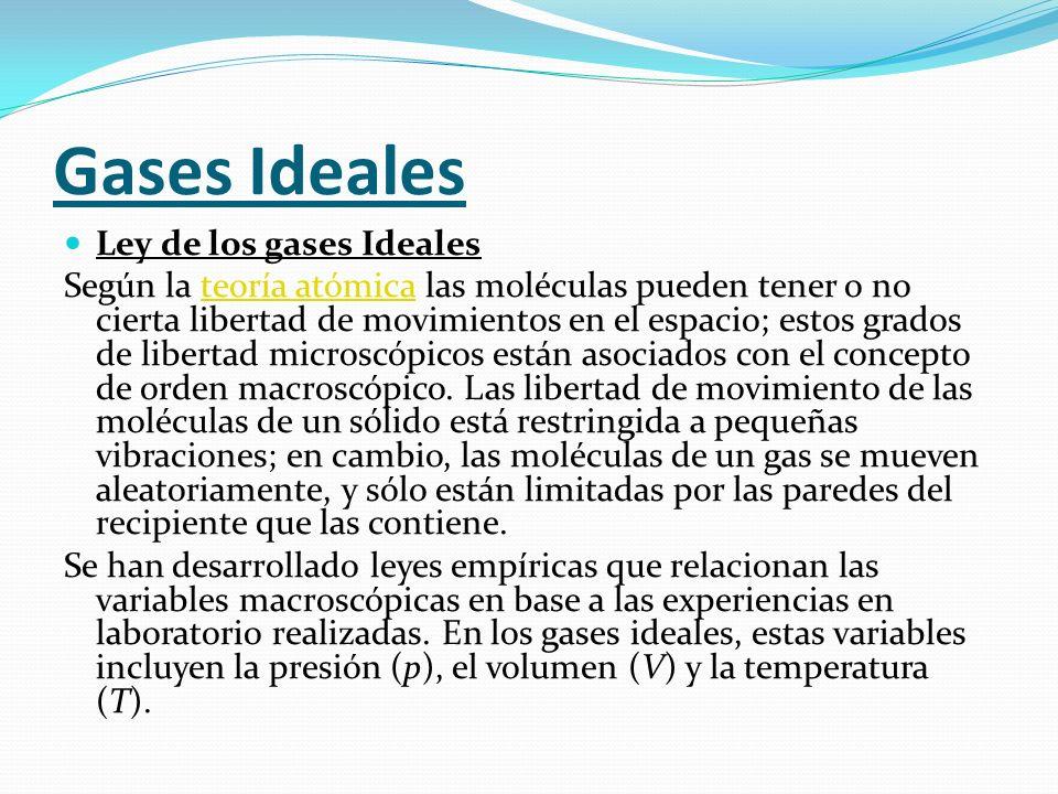 Gases Ideales Ley de los gases Ideales