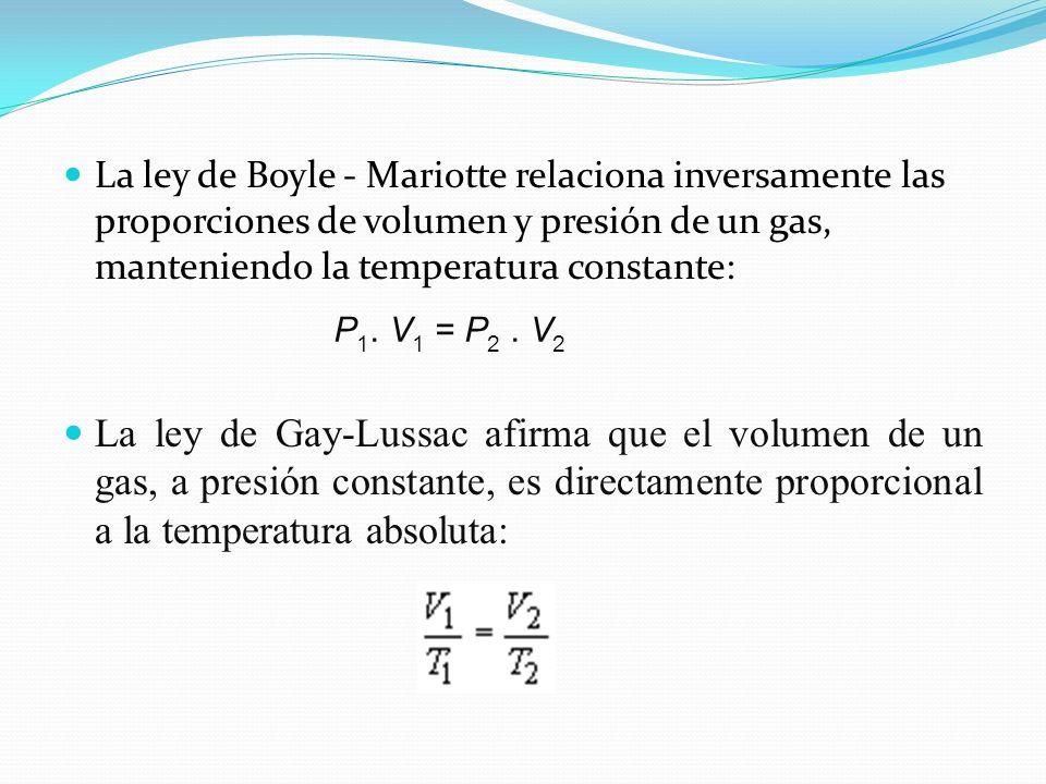 La ley de Boyle - Mariotte relaciona inversamente las proporciones de volumen y presión de un gas, manteniendo la temperatura constante: