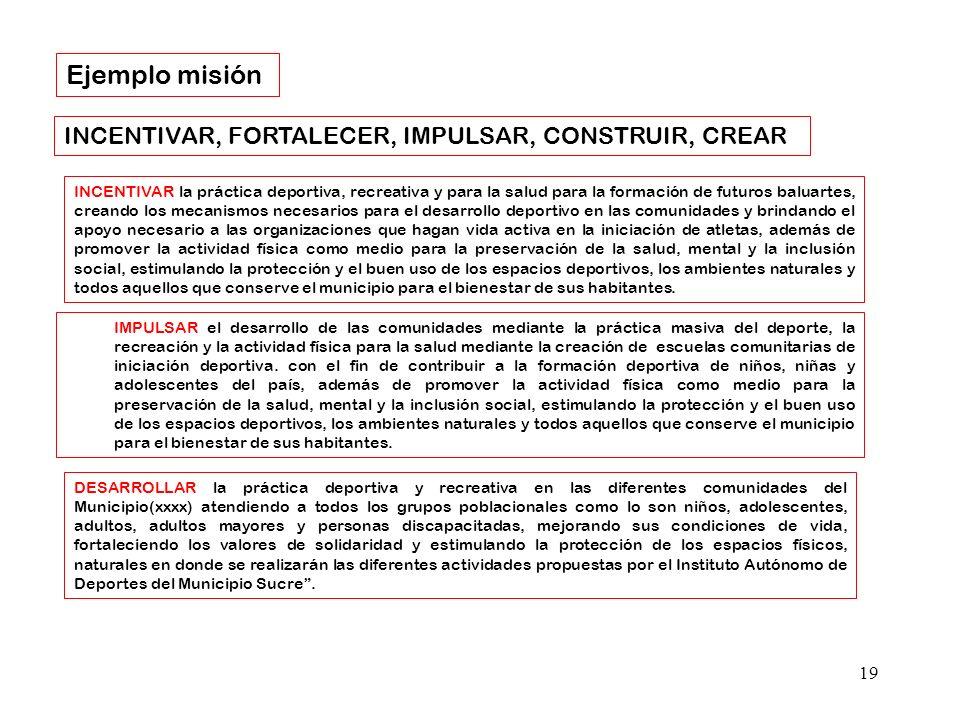 Ejemplo misión INCENTIVAR, FORTALECER, IMPULSAR, CONSTRUIR, CREAR