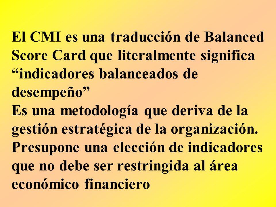 El CMI es una traducción de Balanced Score Card que literalmente significa indicadores balanceados de desempeño Es una metodología que deriva de la gestión estratégica de la organización.
