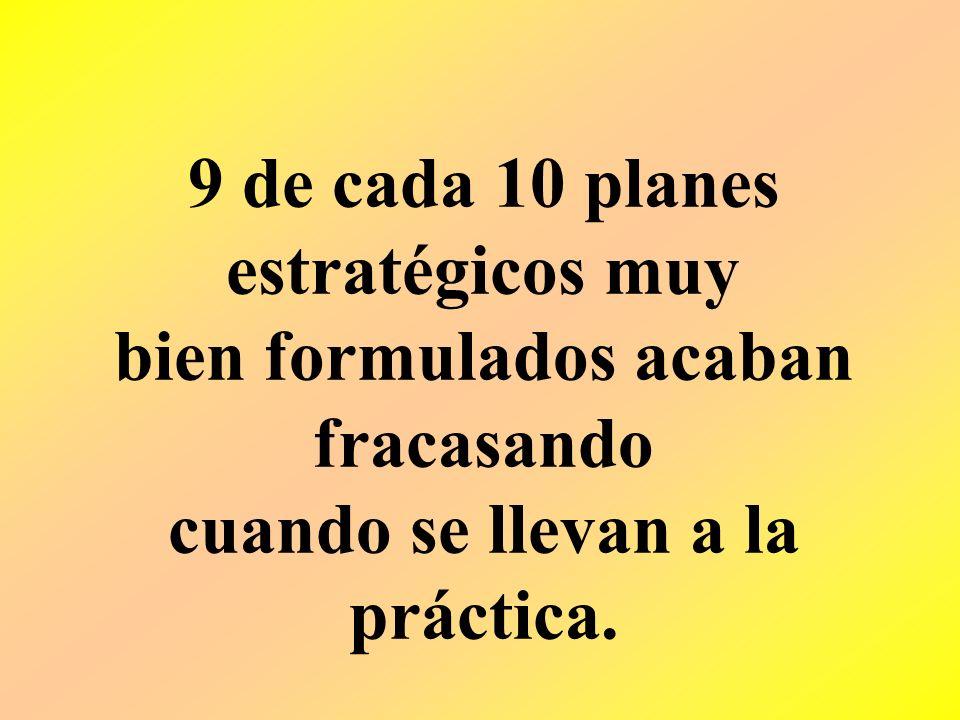 9 de cada 10 planes estratégicos muy bien formulados acaban fracasando cuando se llevan a la práctica.