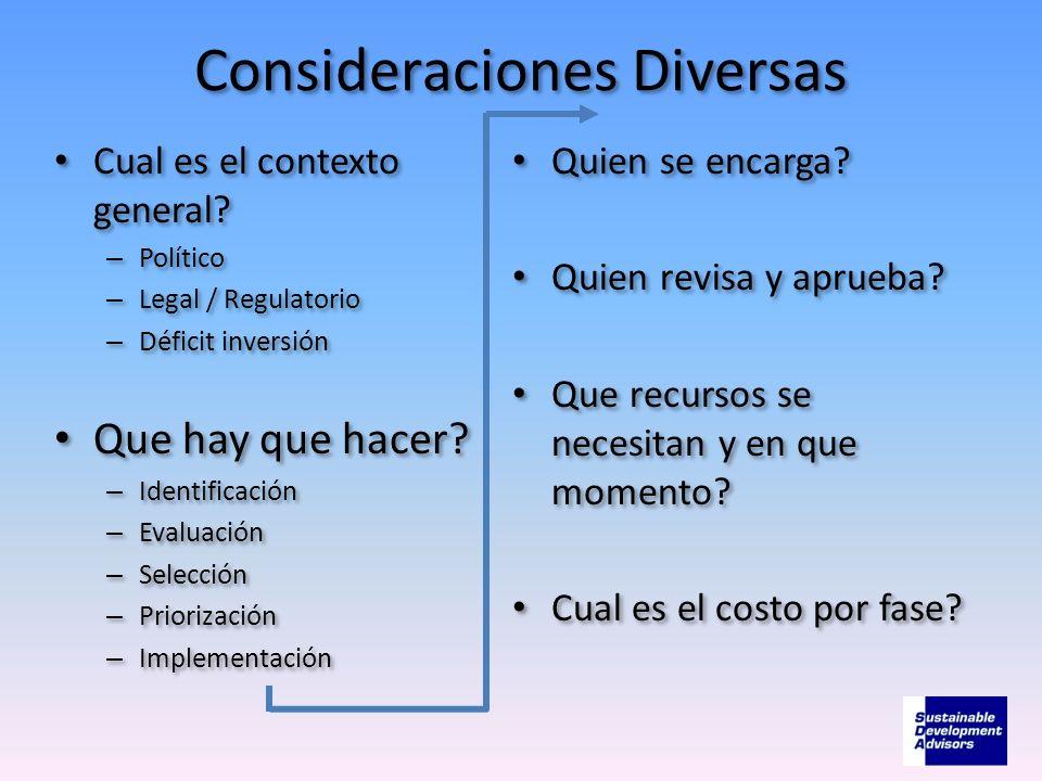 Consideraciones Diversas