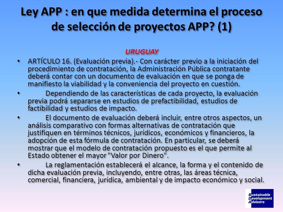 Ley APP : en que medida determina el proceso de selección de proyectos APP (1)