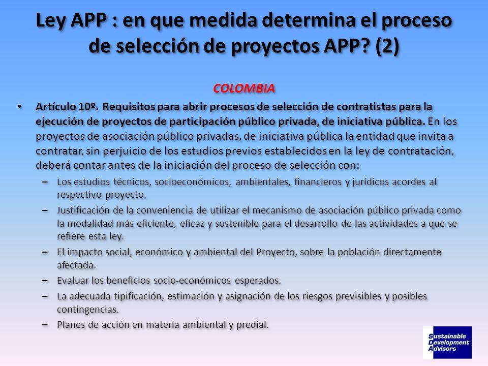 Ley APP : en que medida determina el proceso de selección de proyectos APP (2)