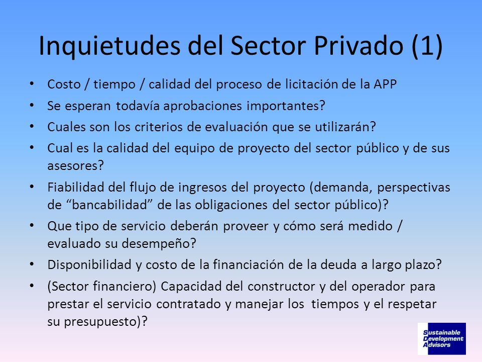 Inquietudes del Sector Privado (1)