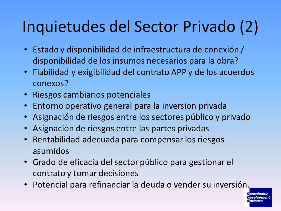 Inquietudes del Sector Privado (2)