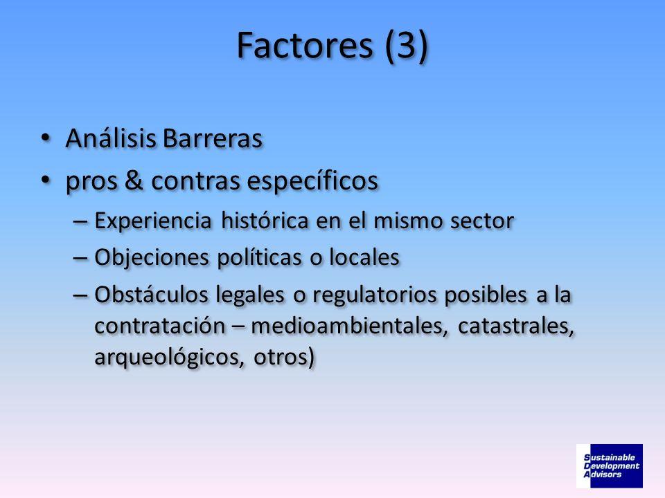 Factores (3) Análisis Barreras pros & contras específicos