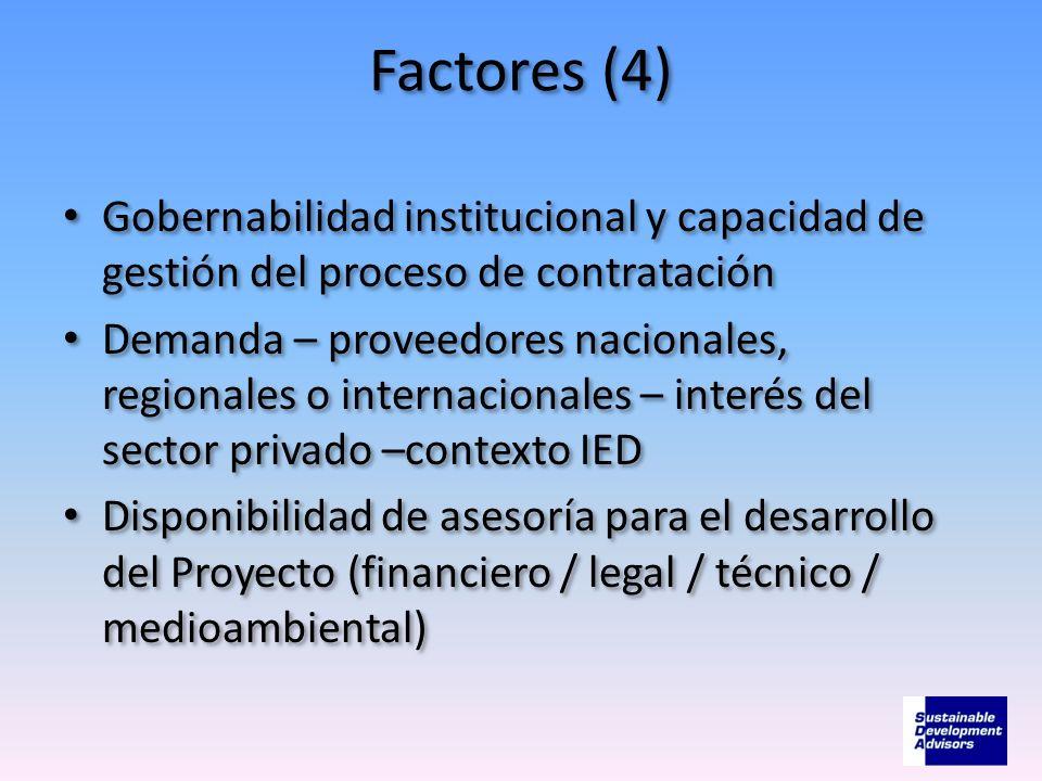 Factores (4) Gobernabilidad institucional y capacidad de gestión del proceso de contratación.