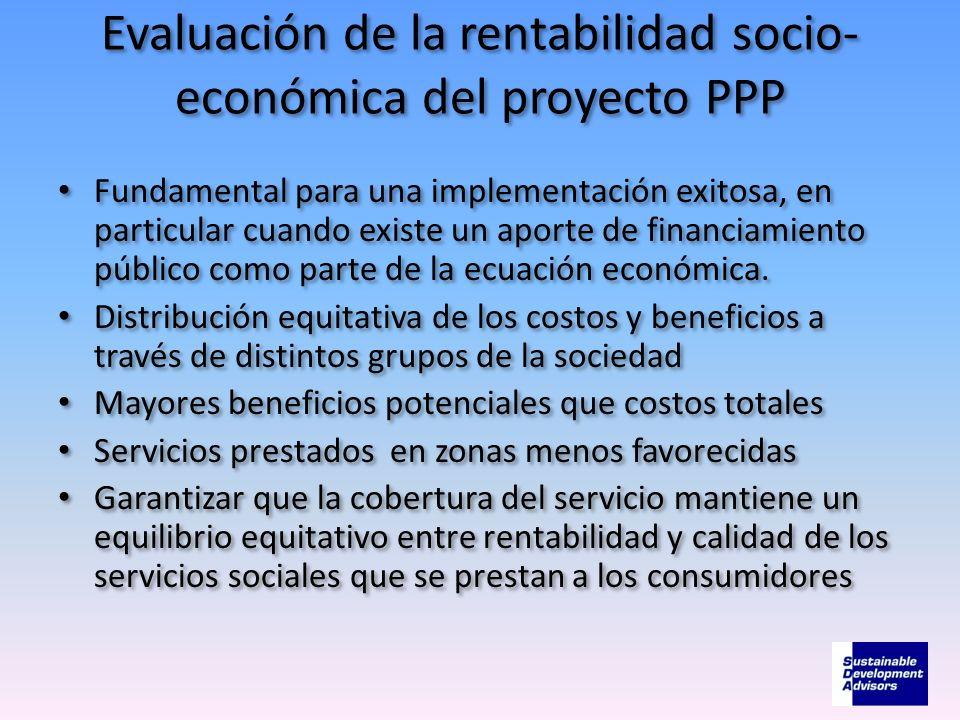 Evaluación de la rentabilidad socio-económica del proyecto PPP