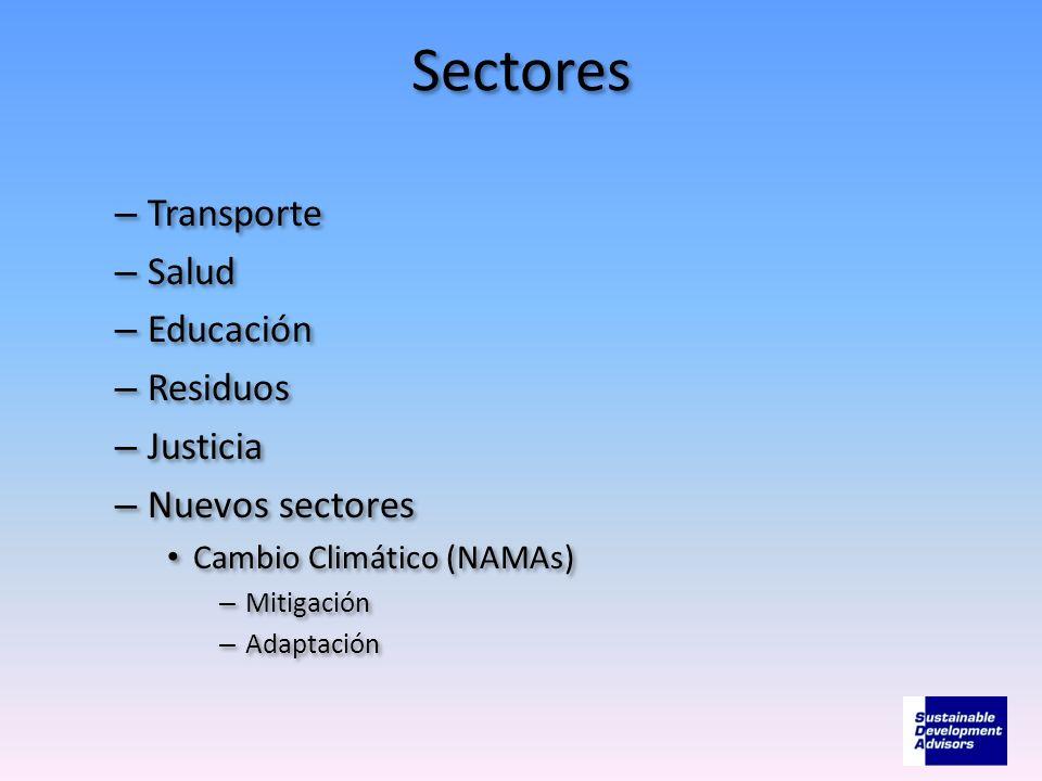 Sectores Transporte Salud Educación Residuos Justicia Nuevos sectores
