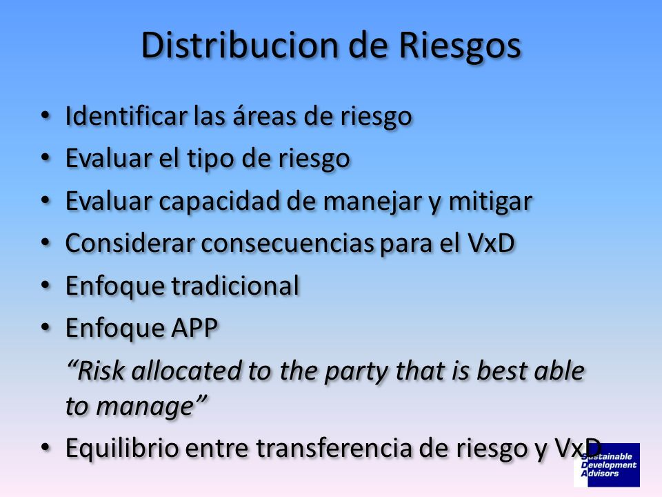 Distribucion de Riesgos