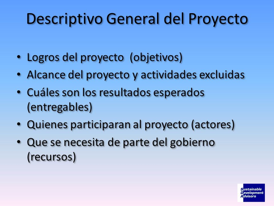 Descriptivo General del Proyecto