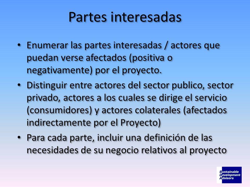 Partes interesadasEnumerar las partes interesadas / actores que puedan verse afectados (positiva o negativamente) por el proyecto.