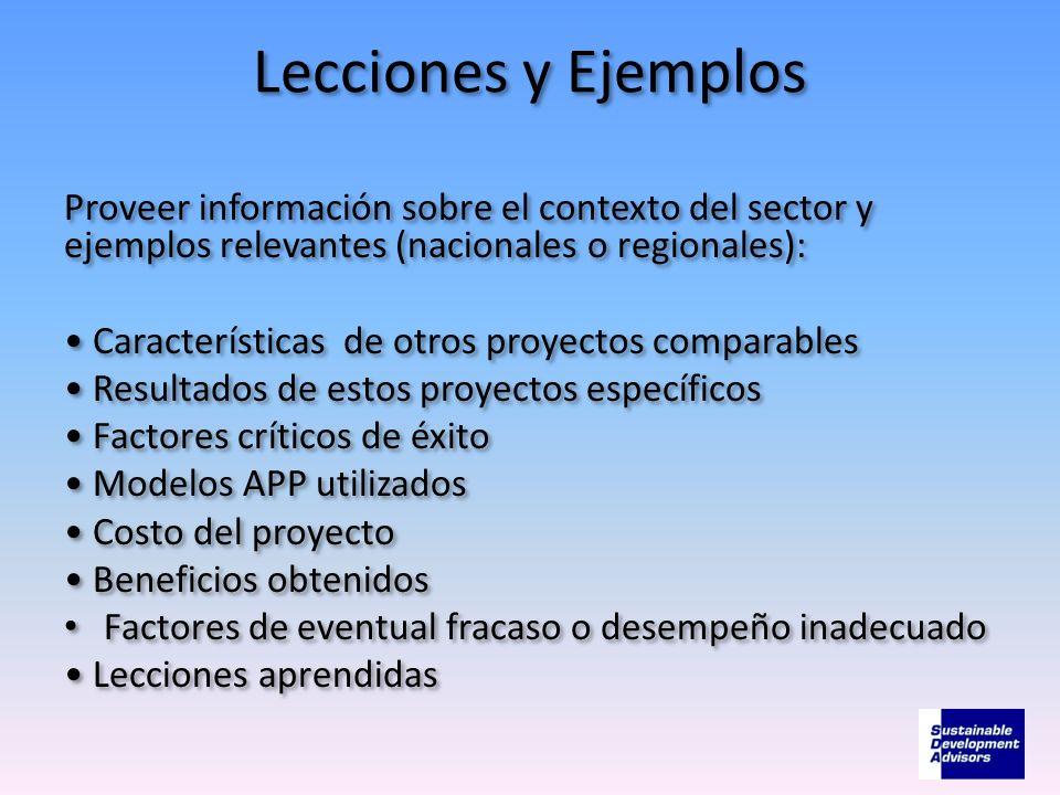Lecciones y EjemplosProveer información sobre el contexto del sector y ejemplos relevantes (nacionales o regionales):