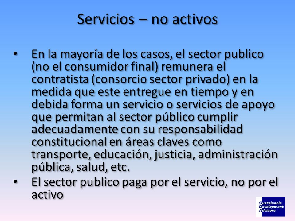 Servicios – no activos