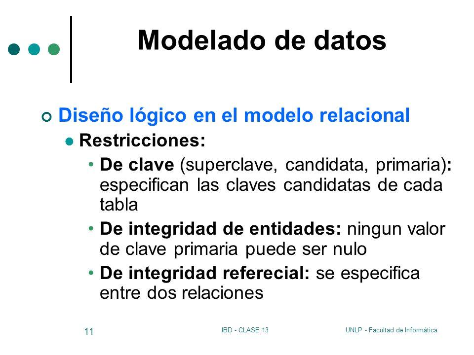 Modelado de datos Diseño lógico en el modelo relacional Restricciones: