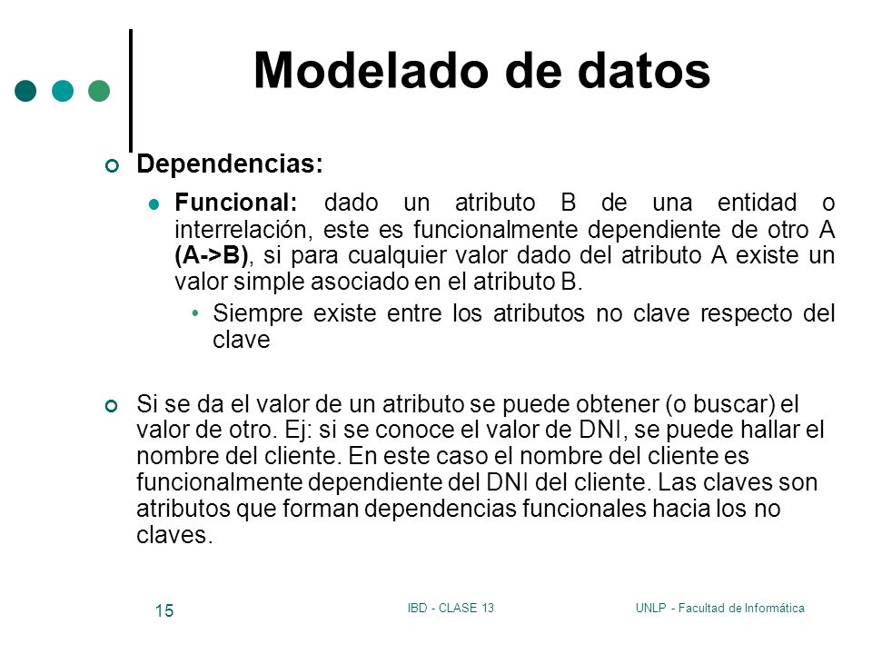 Modelado de datos Dependencias: