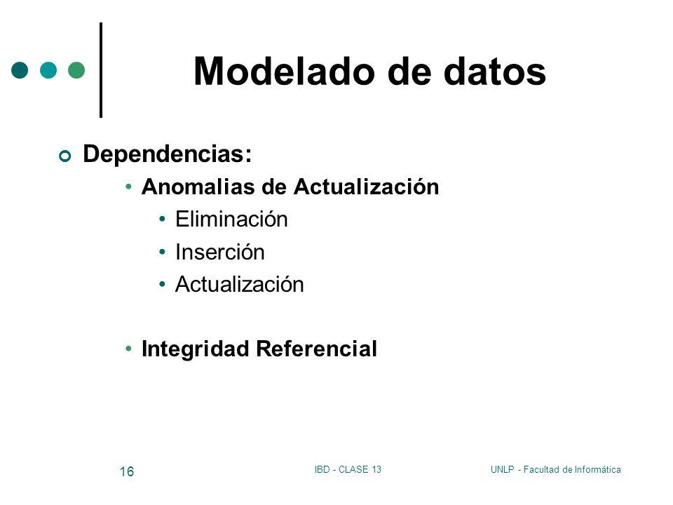 Modelado de datos Dependencias: Anomalias de Actualización Eliminación