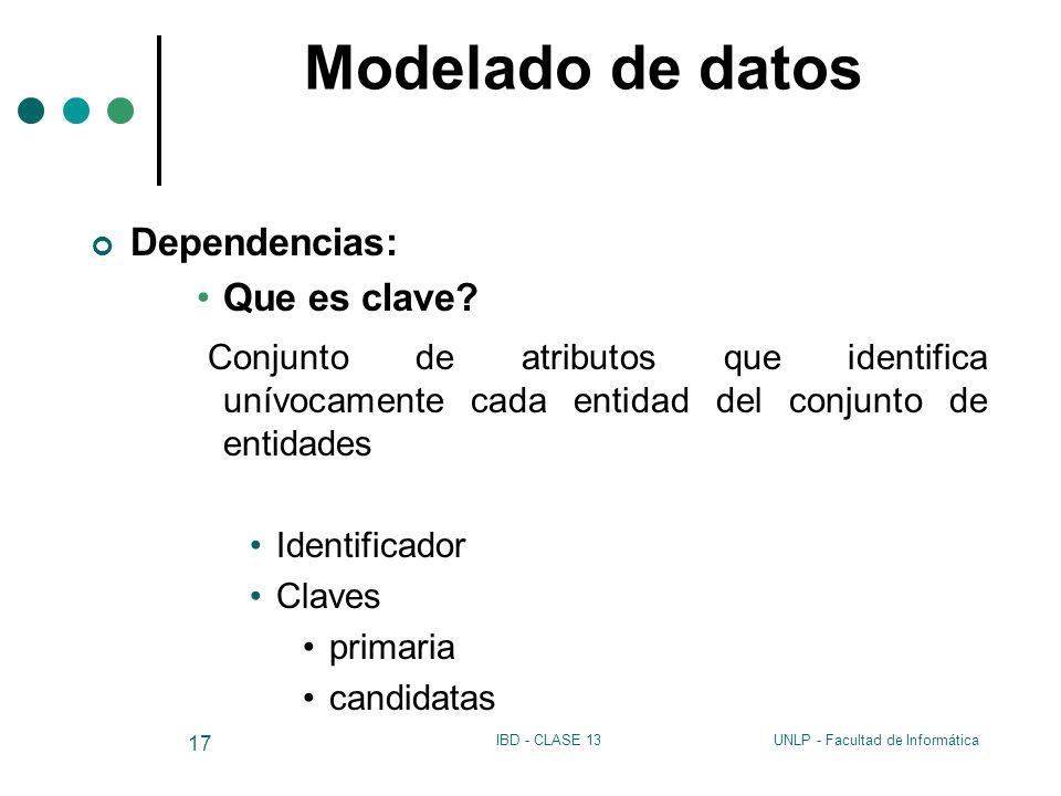 Modelado de datos Dependencias: Que es clave Conjunto de atributos que identifica unívocamente cada entidad del conjunto de entidades.