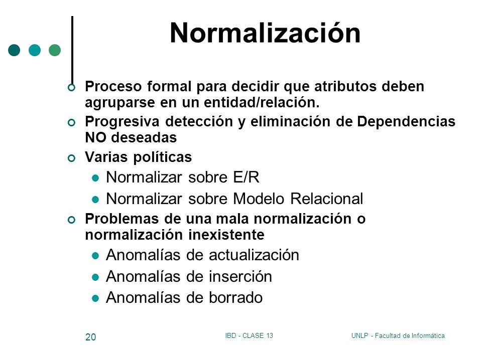 Normalización Normalizar sobre E/R Normalizar sobre Modelo Relacional