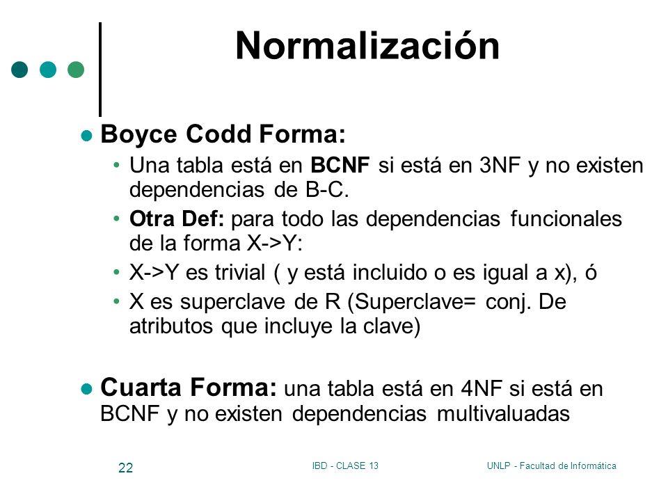 Normalización Boyce Codd Forma: