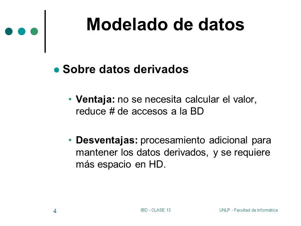 Modelado de datos Sobre datos derivados