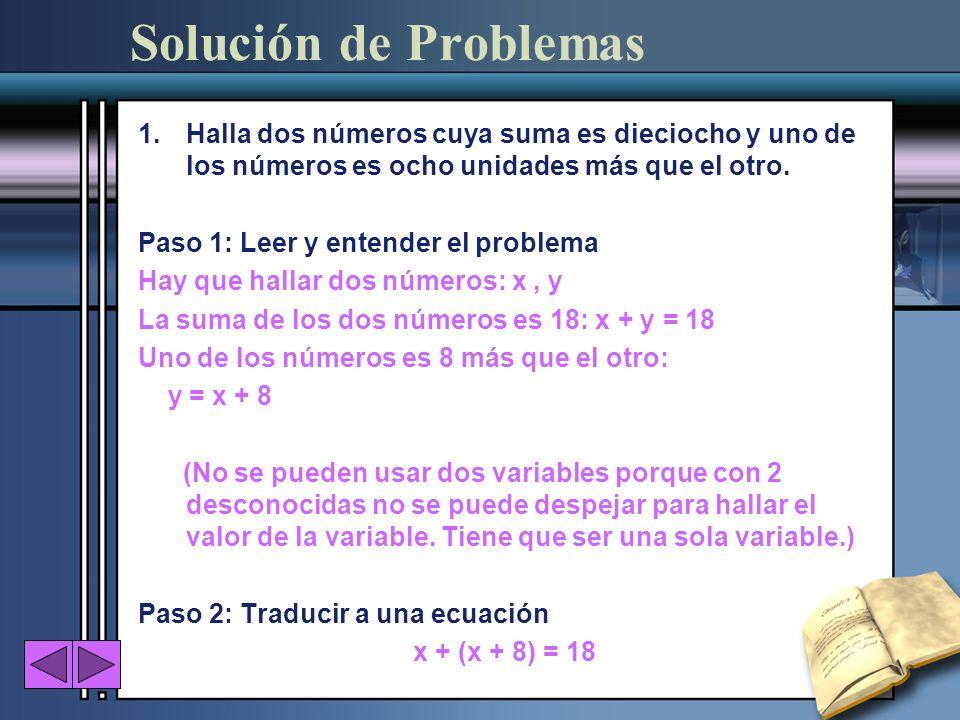 Solución de ProblemasHalla dos números cuya suma es dieciocho y uno de los números es ocho unidades más que el otro.